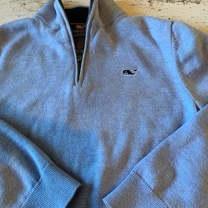 Pale blue heathered vineyard vines 1/4 zip sweater
